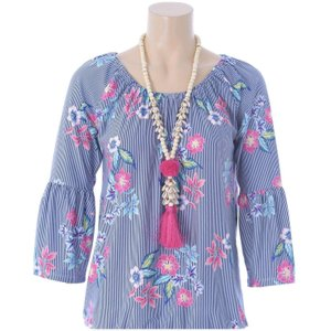 Blue Striped Floral Blouse With Tassel Necklace S