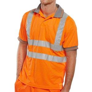 B-seen Hi Vis Short Sleeve Polo Shirt En 471 (go/rt 3279) - Bpksen Orange - Xxl, Orange