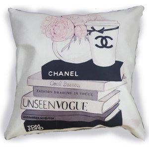 Chanel Coffee Cup & Layered Books Printed Cushion