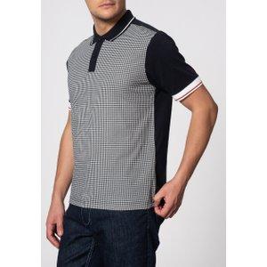 Corona Black & White Houndstooth Cotton Polo Shirt Xl