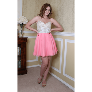 Ellie Wilde Coral Chiffon Festive Party Dress Uk 8