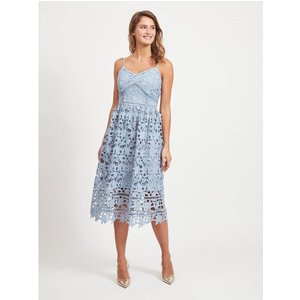 Embroidered Midi Dress- Pale Blue 40