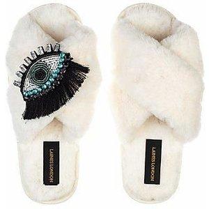 Eyelash Crystal On Fluffy Slippers, Cream - Laines London S (uk3-4)