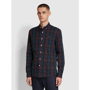 Farah Brewer Slim Fit Tartan Oxford Shirt - Farah Red Extra Large