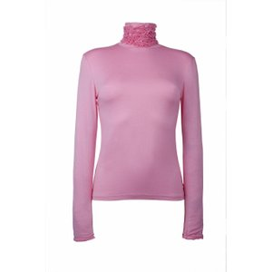 Fine Knit Ruffle Polo Neck Jumper - Pink M/l (over Uk14)