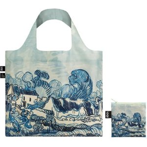 Foldable Tote Bag With 'old Vineyard And Landscape' Artwork By Vincent Van Gogh In Blue
