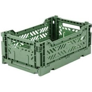 Folding Crate: Mini Stackable Crate - Almond Green