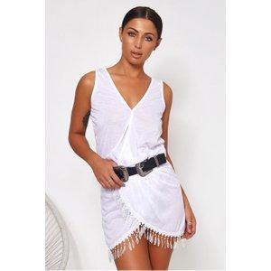 Freya White Tassel Hem Cover Up White - 12, White