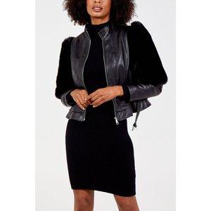 Fur Sleeve Peplum Jacket