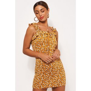 Gia Mustard Floral Ditsy Print Mini Dress Mustard - 10, Mustard