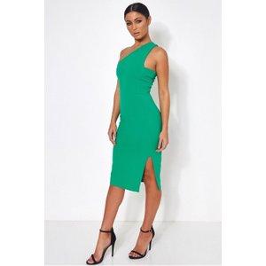 Grace Green One Shoulder Midi Dress Green - 10, Green