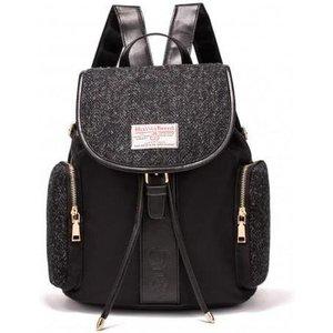 Harris Tweed Large Backpack (black Herringbone)