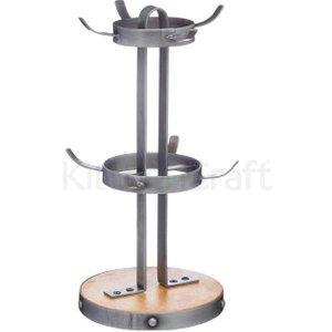 Industrial Kitchen Metal / Wooden Mug Tree Stand