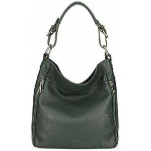 Italian Leather Slouch Shoulder Bag Black, Black