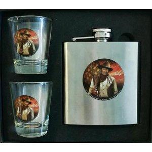 John Wayne Hip Flask 5 Oz & Two Shot Glasses Gift Set