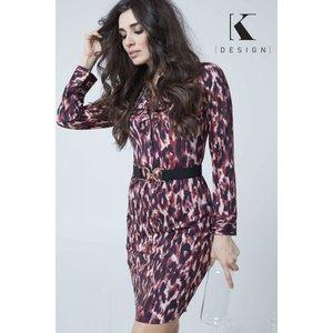 K Design Red/black  Leopard Print Dress