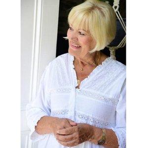 Ladies Long Sleeve Nightdress With Frilly V Neck Line Elizabeth