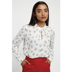 Louche Tatiana Maybells Long Sleeve Blouse In White Floral Print 10