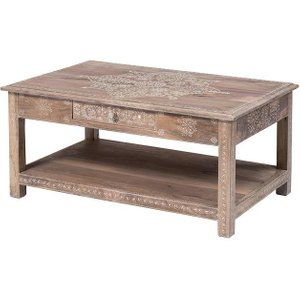 Mehindi Style Hand Finished Coffee Table With 1 Drawer & Shelf