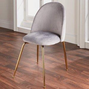 Nh Grey Velvet Dining Chair - Gold Legs - Set Of 2