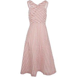 Pink Stripe Seline Cross Front Midi Dress 8