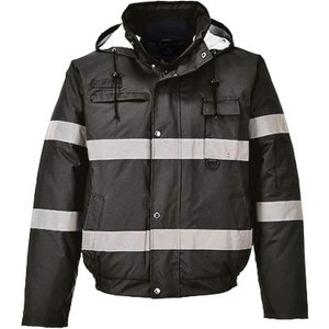 Portwest Iona Lite Waterproof Hi Viz Bomber Jacket - S434 Black - Large, BLACK