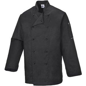 Portwest Somerset Mandarin Collar Chefs Jacket - C834 Black - Xsmall, BLACK