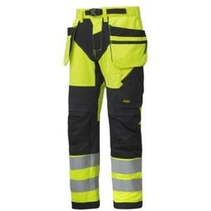 Snickers Flexiwork High Vis Work Trousers Holster Pockets Cl.. Yellow - Regular 44 (up To , Yellow
