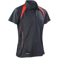 Spiro Mens Team Spirit Breathable Sporty Polo Shirt - S177m White/red - M, White/Red