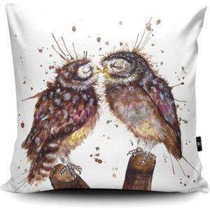 Splatter Loved Up Owls Vegan Suede Cushion