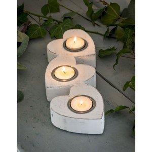 White Wooden Heart Tealight Holder White, White