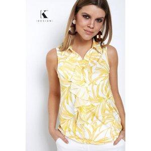 Yellow Palm Print Sleeveless Blouse From K-design