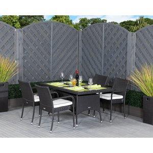 Rattan Direct 4 Rattan Garden Chairs & Small Rectangular Dining Table Set In Black & White - Rom Set Rom 027, Black