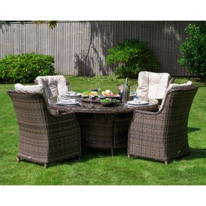 Rattan Direct 4 Rattan Garden Dining Chairs & Large Round Table In Truffle Brown & Champagne - R Set Riv 023, Brown