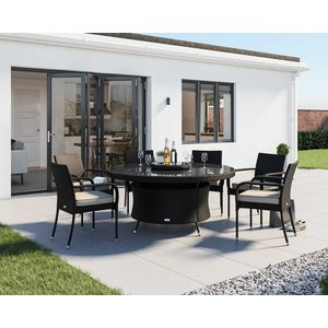 Rattan Direct 6 Rattan Garden Chairs, Large Round Dining Table & Lazy Susan Set In Black & White Set Rom 024, Black