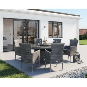 Rattan Direct 6 Seat Rattan Garden Dining Set With Large Round Dining Table In Grey - Cambridge Set Cam 035, Grey