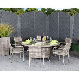 Rattan Direct 6 Seat Rattan Garden Dining Set With Large Round Dining Table In Grey - Roma Set Rom 041, Grey