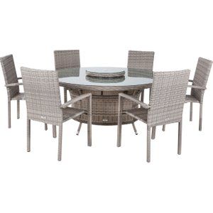 Rattan Direct 6 Seat Rattan Garden Dining Set With Large Round Table In Grey - Rio Set Rio 043, Grey