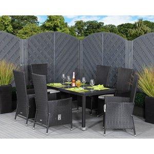 Rattan Direct 6 Seater Rattan Garden Dining Set With Open Leg Rectangular Table In Black & White - C Set Cam 054, Black