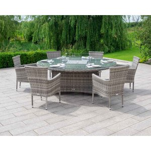Rattan Direct 6 Stacking Rattan Garden Chairs & Large Round Fire Pit Table Set In Grey - Cambridge Set Cam 117, Grey