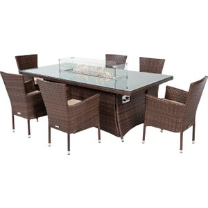 Rattan Direct 6 Stacking Rattan Garden Chairs & Rectangular Fire Pit Table Set In Brown - Cambridge Set Cam 128, Brown