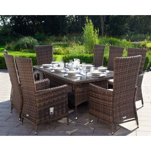 Rattan Direct 8 Seat Rattan Garden Dining Set With Rectangular Dining Table In Truffle Brown - Cambridge Set Cam 108, Brown