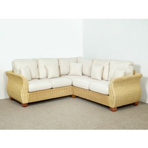 Rattan Direct Conservatory Wicker Rattan Corner Sofa In Oatmeal - 158cm X 213cm - Chelsea Brown Set Chl 085 Full, Brown