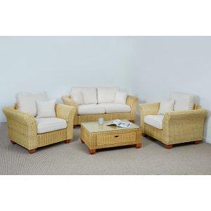 Rattan Direct Kingston Wicker 2 Seat Large Sofa Set - 1x Sofa, 2x Armchair, 1x Medium Coffee Table In Oa  Set King 336 2