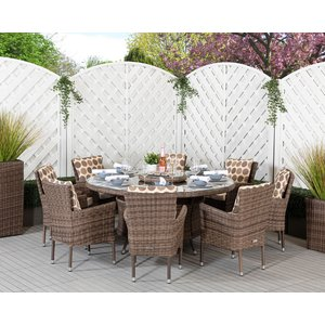 Rattan Direct Large Round Rattan Garden Dining Table & 8 Stackable Chairs In Brown & Champagne - Set Cam 113, Brown