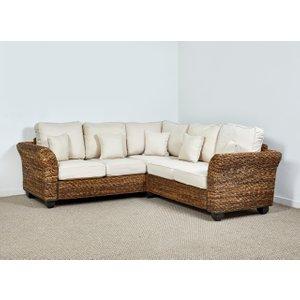Rattan Direct Rattan Conservatory 4 Seater Corner Sofa In Oatmeal - Kingston Abaca 161cm X 216cm Brown Set King 073 Full, Brown