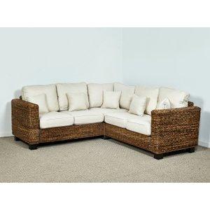 Rattan Direct Rattan Conservatory Corner Sofa In Oatmeal - Kensington Abaca 209cm X 229cm Brown Set Ken 203 Full, Brown