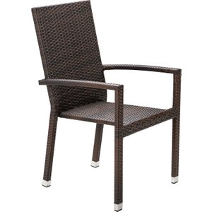 Rattan Direct Rattan Garden Armed Stacking Chair In Brown - Rio Uni10038, Brown