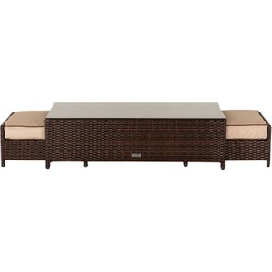 Rattan Direct Rattan Garden Coffee Table With 2 Footstools In Brown - Ascot Uni00013, Brown