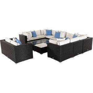 Rattan Direct Rattan Garden Corner Sofa Set In Black & White - Geneva Set Gen 108, Black